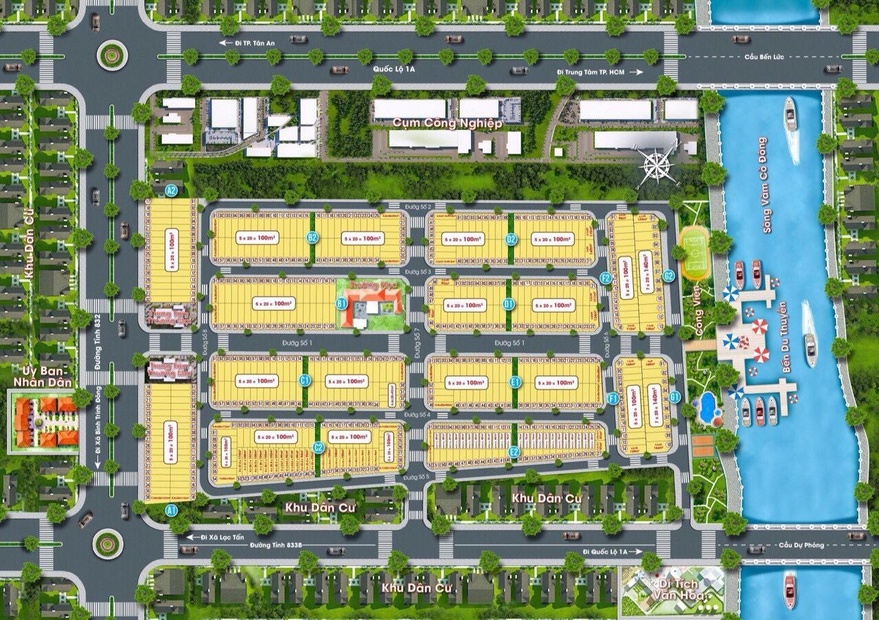 Hotline: 0868565583 - MỞ BÁN chỉ 442 triệu - 750 triệu/nền (100% giá) - dự án Mỹ Kim Long Riverside Tân Trụ Long An. Quy hoạch 1/500, số riêng,