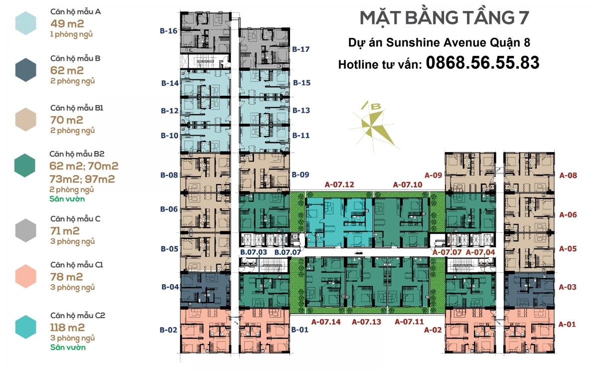 mặt bằng căn hộ Sunshine Avenue - Hotline tư vấn Chủ Đầu Tư: 0868565583